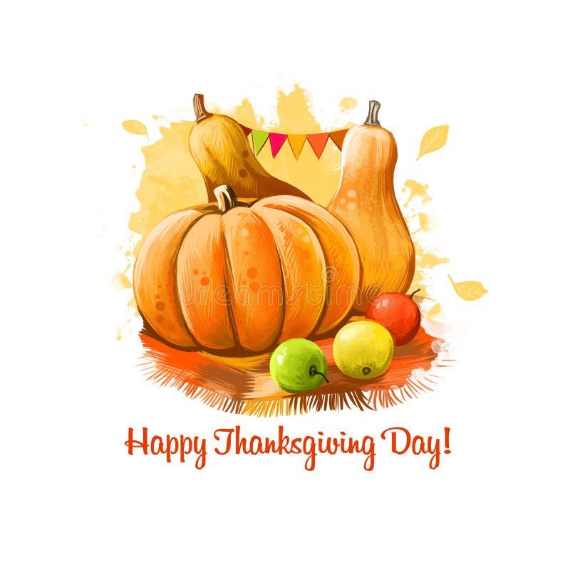Ejemplo feliz de la bandera del día de la acción de gracias con las calabazas adornadas y el arte digital amarillo de las manzana libre illustration