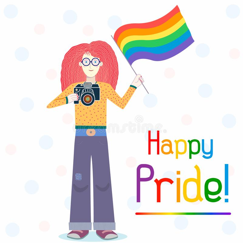 Ejemplo feliz de la postal del orgullo gay Muchacha bonita con la bandera y la cámara del arco iris stock de ilustración