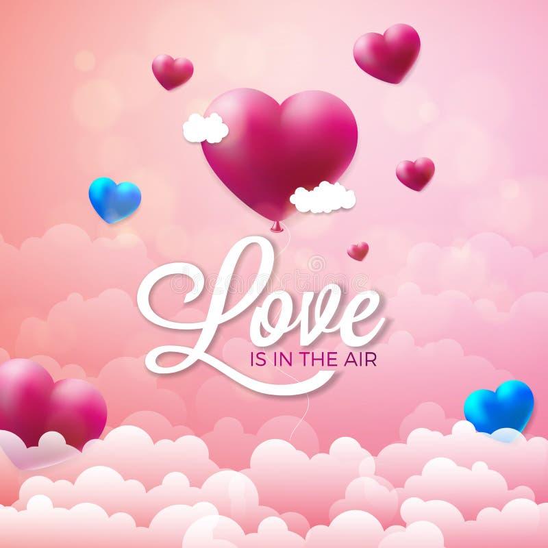 Ejemplo feliz del día de tarjetas del día de San Valentín con el globo rojo del corazón en fondo rosado de la nube El amor del ve stock de ilustración