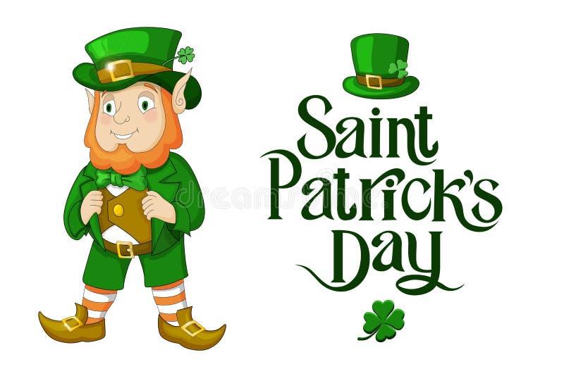 Ejemplo feliz del día del St Patricks del duende con poner letras aislado libre illustration