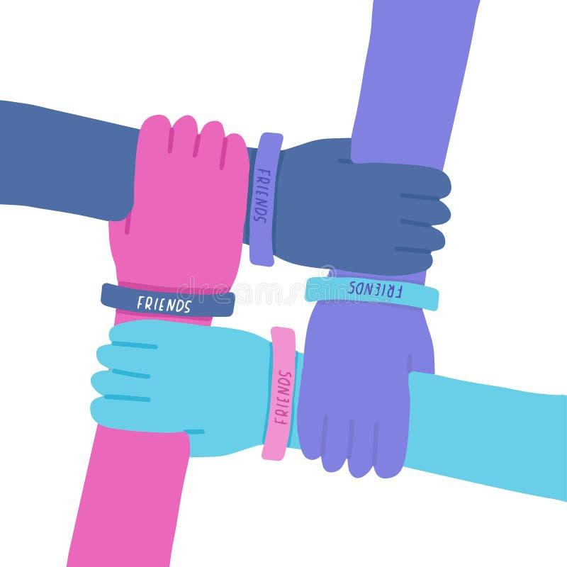 Ejemplo feliz del d?a de la amistad Las cuatro manos coloridas cruzaron juntas en el fondo blanco Ejemplo del vector de internaci ilustración del vector