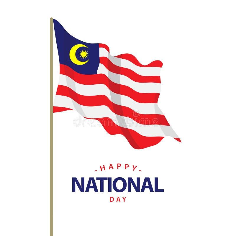 Ejemplo feliz del diseño de la plantilla del vector del día nacional de Malasia libre illustration