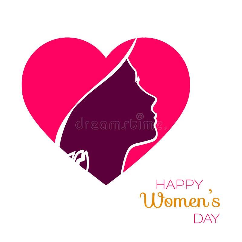 Ejemplo feliz del vector del color del día de fiesta del día de las mujeres Silueta principal cortada de papel de la muchacha libre illustration