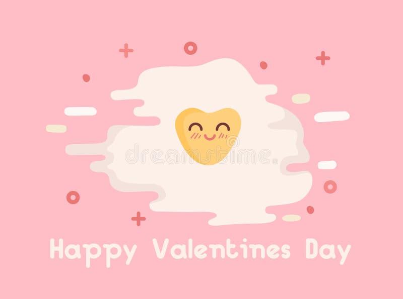 Ejemplo feliz del vector del día de tarjetas del día de San Valentín Tortilla en forma de corazón, yema de huevo Estilo libre pla stock de ilustración