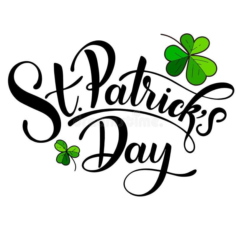 Ejemplo feliz del vector del día del ` s de St Patrick Diseño irlandés de la celebración Insignia dibujada mano con el trébol y e libre illustration
