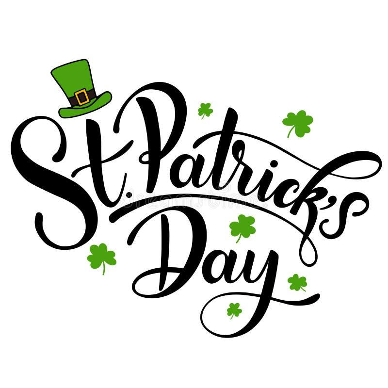 Ejemplo feliz del vector del día del ` s de St Patrick Diseño irlandés de la celebración Insignia dibujada mano con el trébol y e stock de ilustración