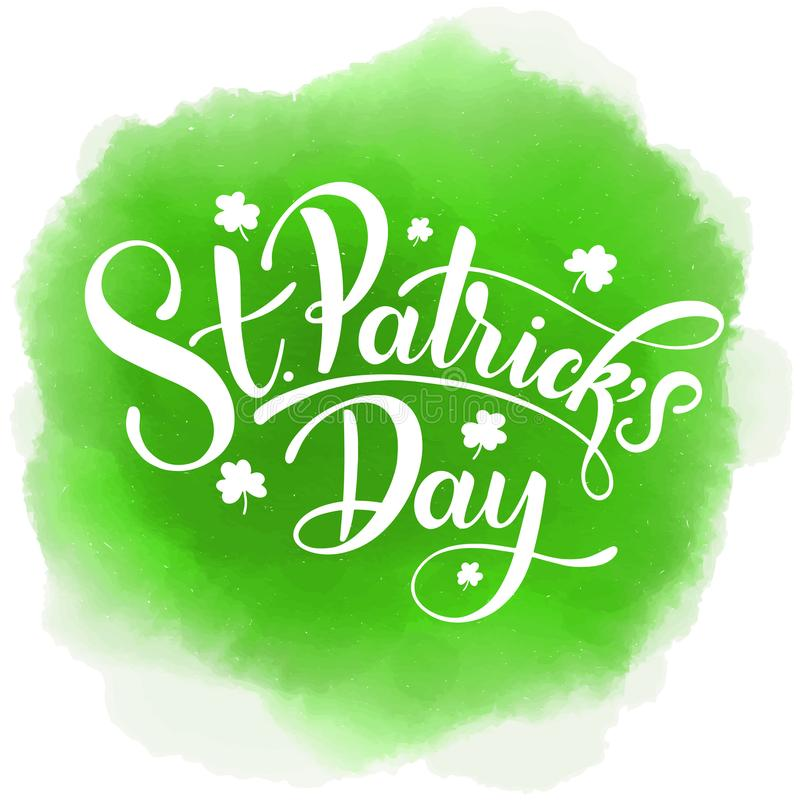 Ejemplo feliz del vector del día del ` s de St Patrick Diseño irlandés de la celebración Insignia dibujada mano con el trébol y e ilustración del vector