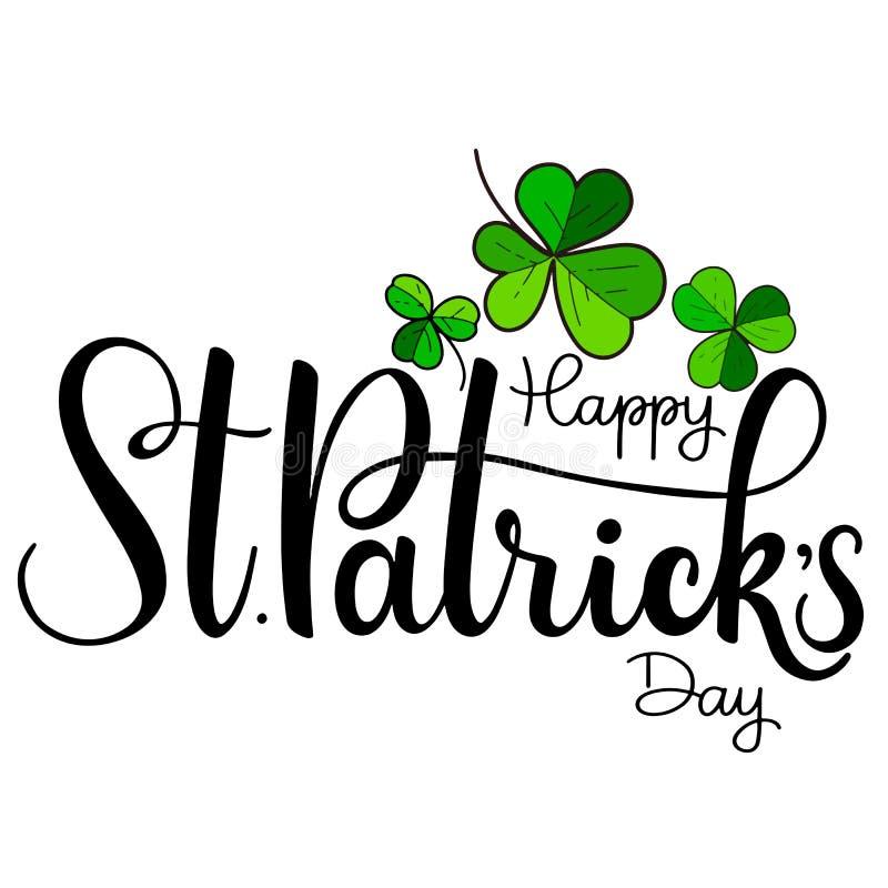 Ejemplo feliz del vector del día del ` s de St Patrick Diseño irlandés de la celebración Insignia de la tipografía con el trébol  ilustración del vector