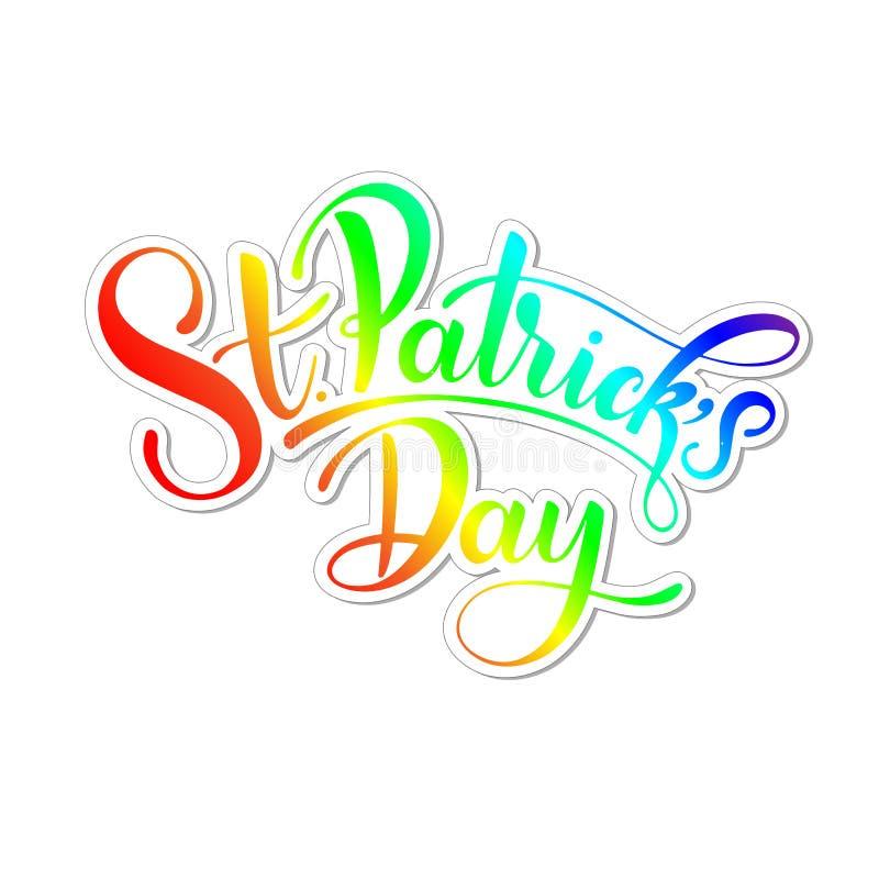 Ejemplo feliz del vector del día del ` s de St Patrick Diseño irlandés de la celebración Tipografía dibujada mano con el trébol y ilustración del vector