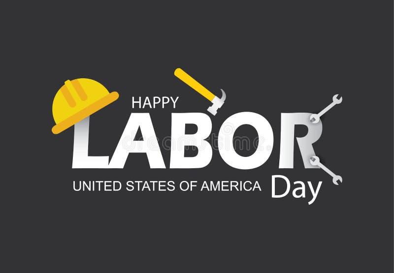 Ejemplo feliz del vector de la bandera del Día del Trabajo fotografía de archivo libre de regalías