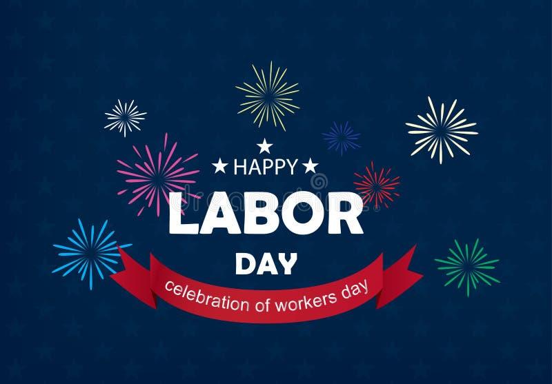 Ejemplo feliz del vector de la bandera del Día del Trabajo fotos de archivo