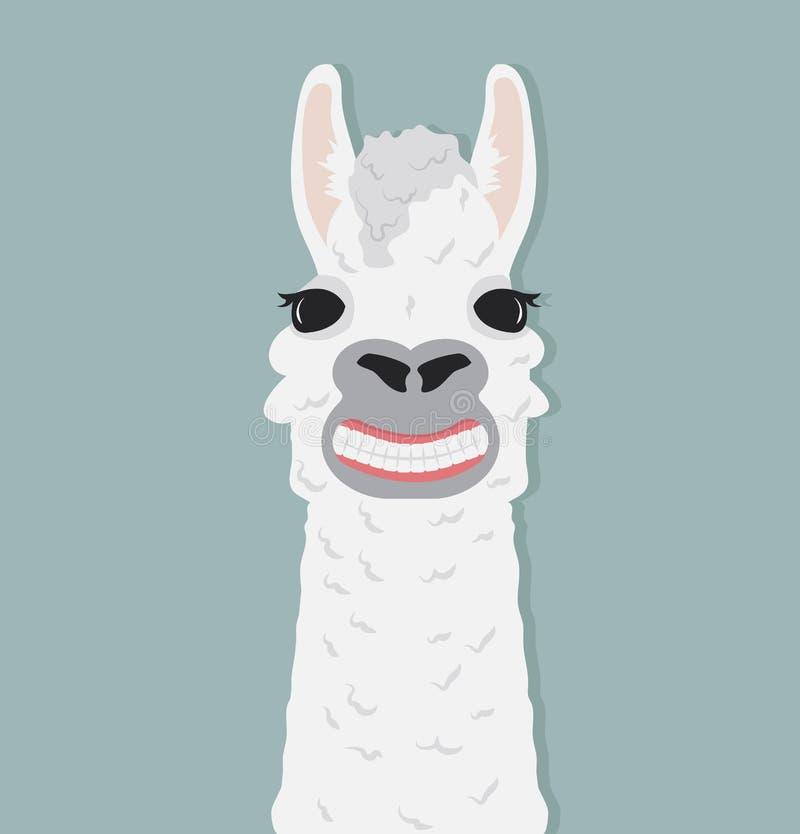 Ejemplo feliz del vector de la sonrisa de la alpaca stock de ilustración