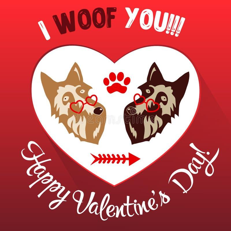 Ejemplo feliz del vector de la tarjeta de felicitación del día de tarjetas del día de San Valentín libre illustration