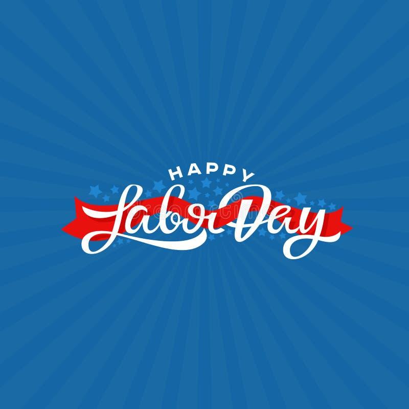Ejemplo feliz del vector de las letras de Día del Trabajo Tarjeta de felicitación de la festividad nacional stock de ilustración