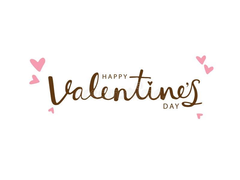 Ejemplo feliz del vector del texto de la caligrafía de la tipografía de día de San Valentín ilustración del vector