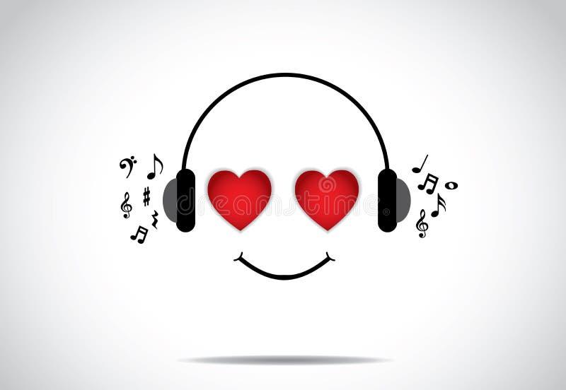 Ejemplo feliz joven del persion de escuchar la gran música con los ojos en forma de corazón stock de ilustración