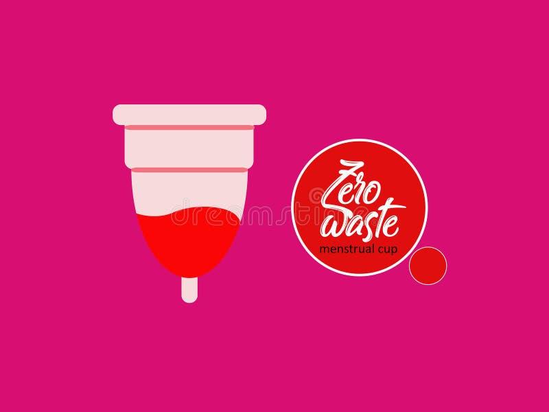 Ejemplo femenino del vector del icono de la reproducción del diseño plano menstrual de la taza stock de ilustración