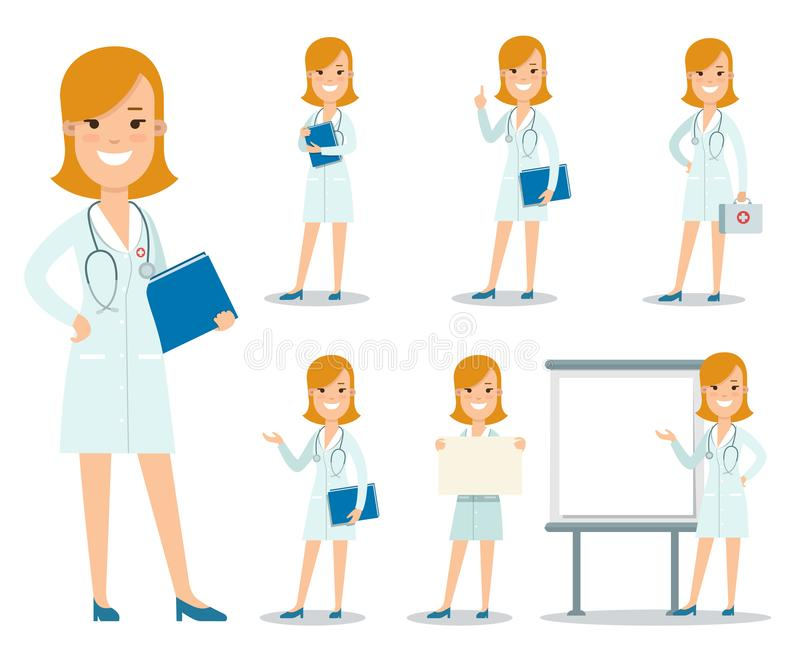 Ejemplo femenino plano Healt de la enfermera del doctor libre illustration