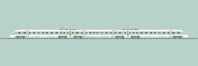 Ejemplo ferroviario expreso aislado plano del vector del tren de alta velocidad stock de ilustración