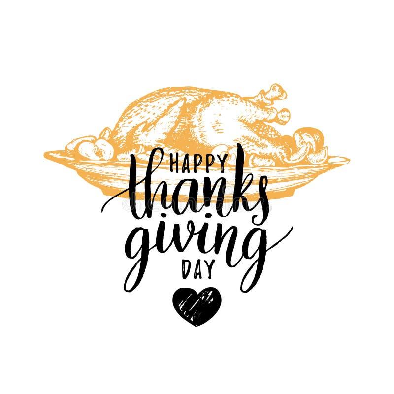 Ejemplo festivo del vector del pavo con las letras de día felices de la acción de gracias libre illustration