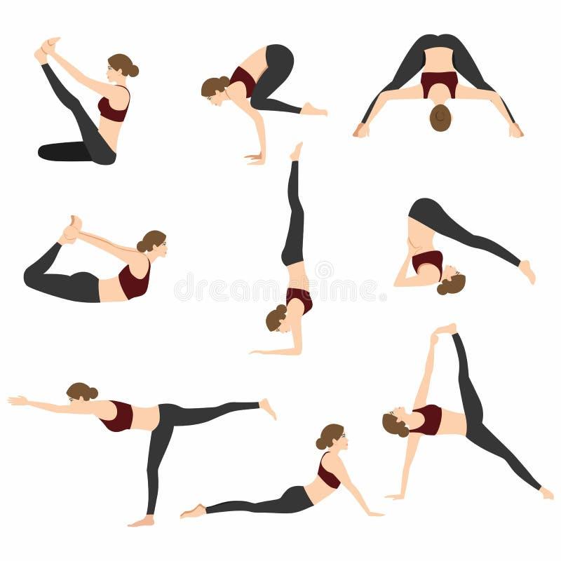 Ejemplo fijado actitudes del vector de la yoga stock de ilustración