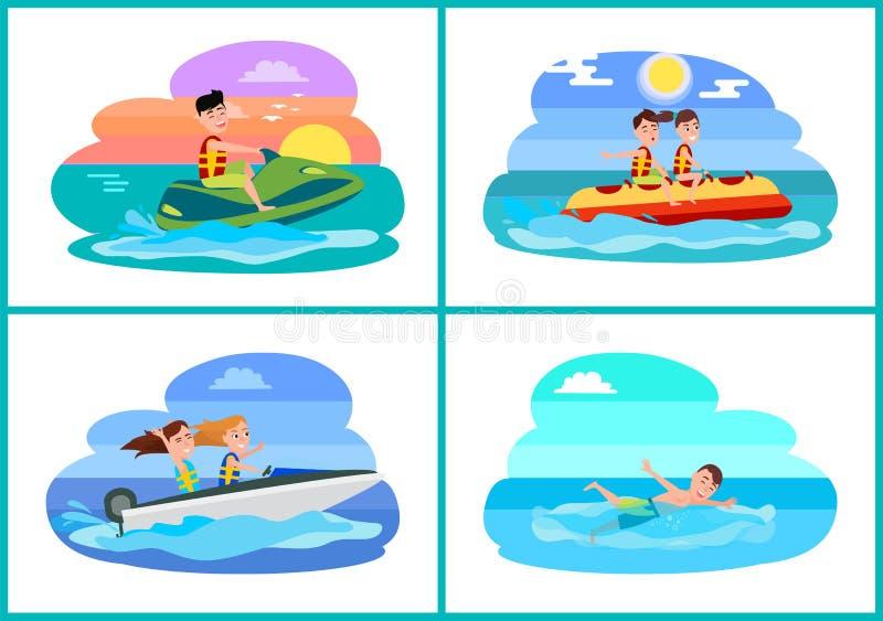 Ejemplo fijado actividades humanas del vector del verano ilustración del vector