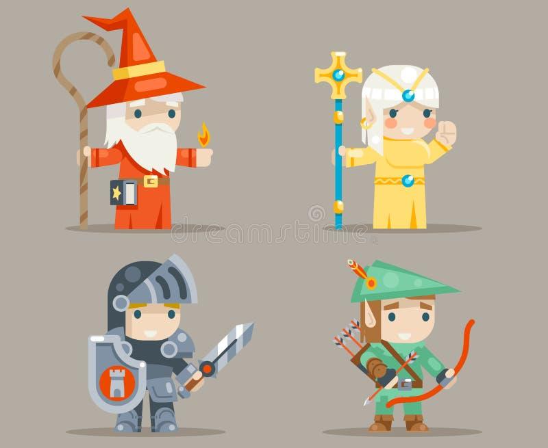 Ejemplo fijado iconos humanos del vector del vector del carácter del duende del juego del RPG de Archer Fantasy del sacerdote de  stock de ilustración