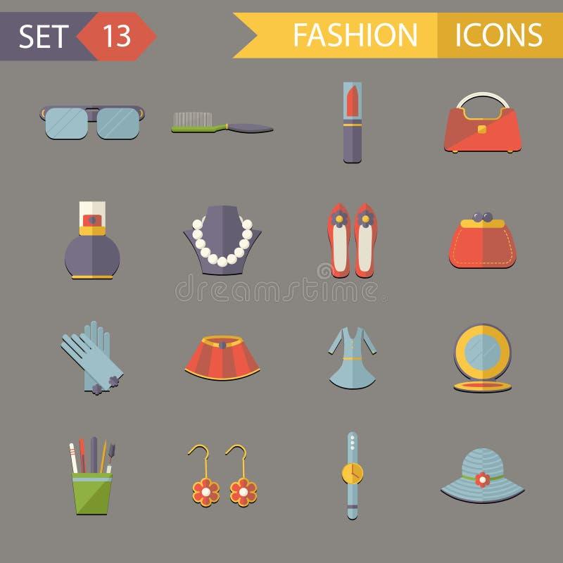 Ejemplo fijado iconos planos del vector de los accesorios de los símbolos de la moda del diseño libre illustration