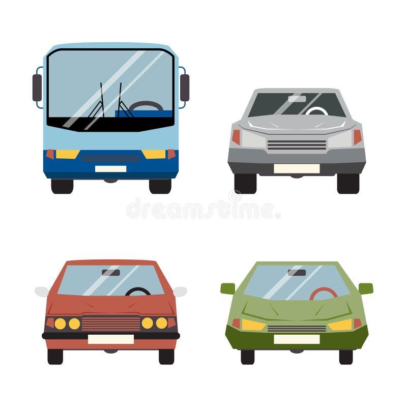 Ejemplo fijado iconos retros del vector del coche plano libre illustration