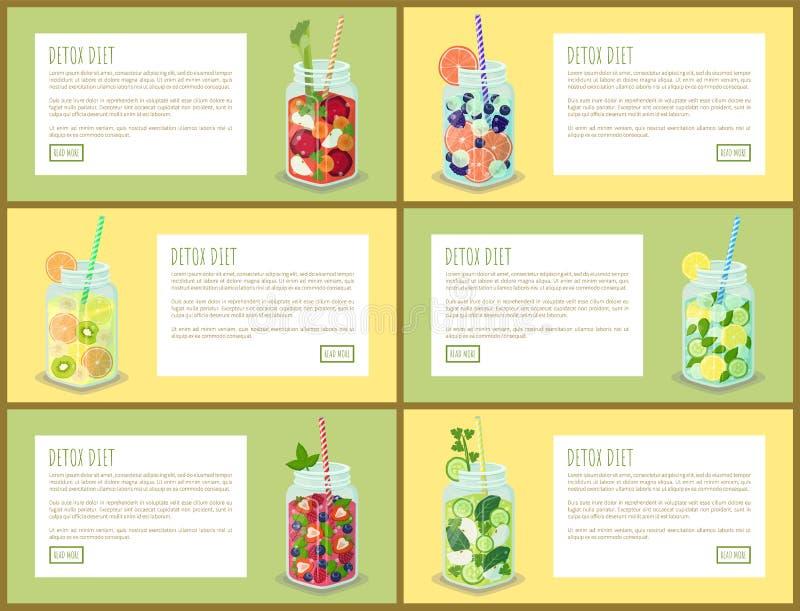 Ejemplo fijado páginas del vector de la bebida de la dieta del Detox ilustración del vector