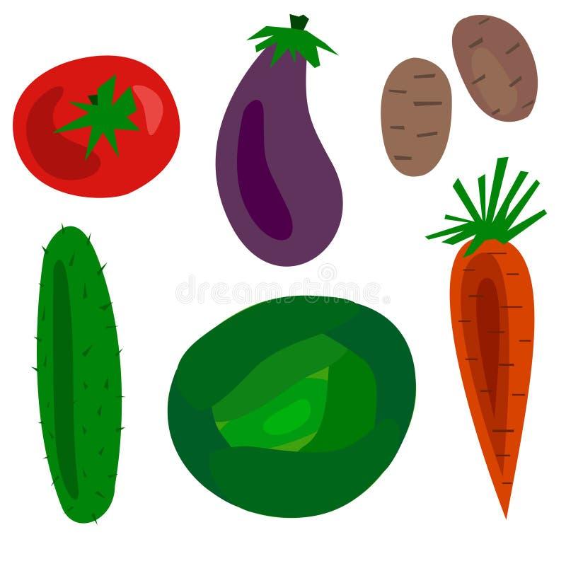 Ejemplo fijado verduras planas del vector de la historieta stock de ilustración