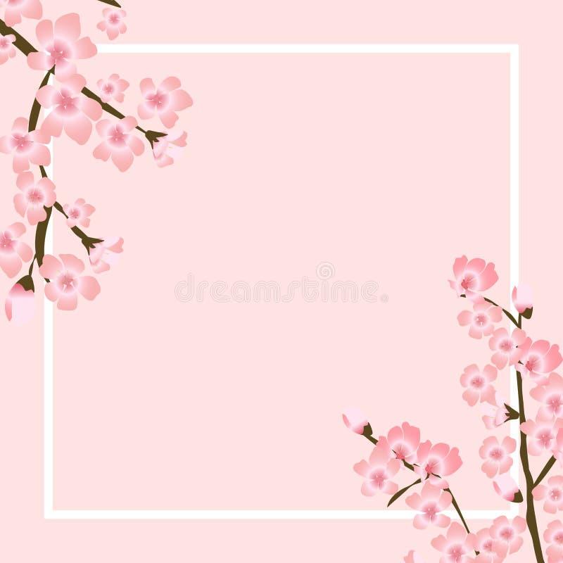 Ejemplo floral abstracto del vector de Sakura Flower Japanese Natural Background ilustración del vector