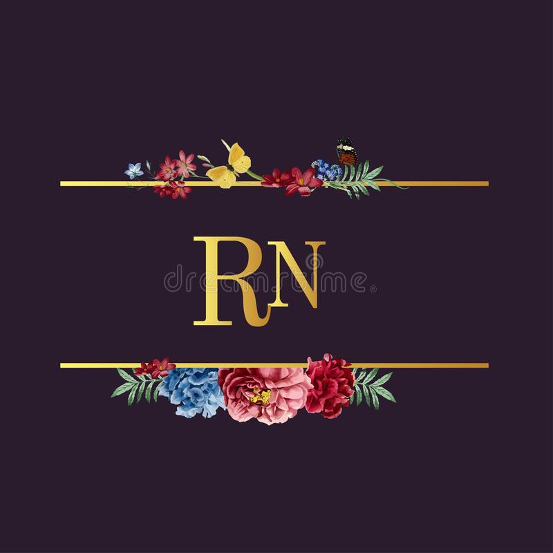 Ejemplo floral de la tarjeta de la invitación de la boda ilustración del vector