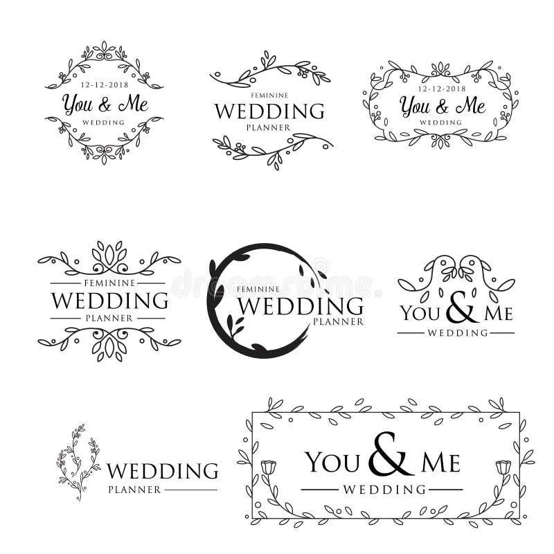 Ejemplo floral de lujo del vector de la colección del logotipo que se casa stock de ilustración