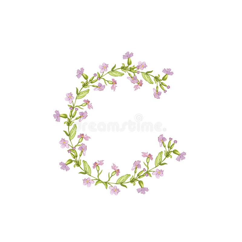 Ejemplo floral del alfabeto de la acuarela La letra C hizo de flores en el fondo blanco libre illustration