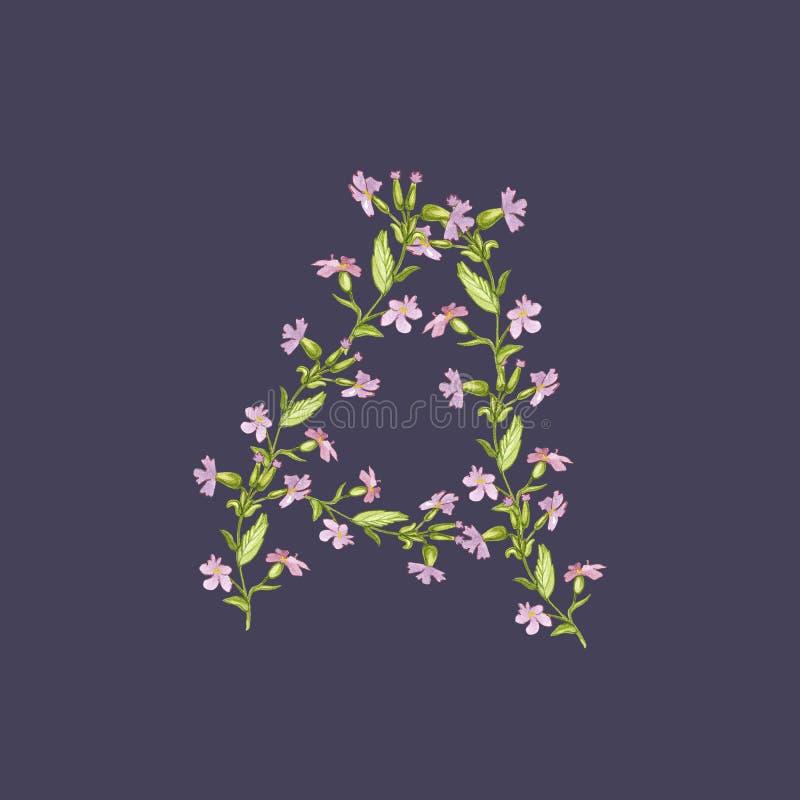Ejemplo floral del alfabeto de la acuarela La letra A hizo de flores en fondo violeta oscuro libre illustration