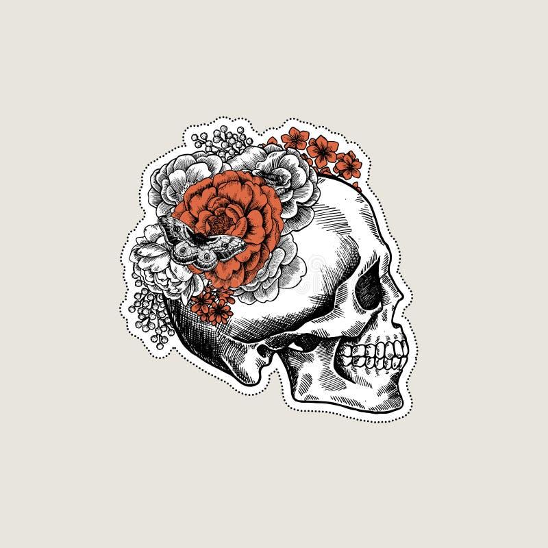 Ejemplo floral del cráneo del vintage de Halloween Esqueleto humano ilustración del vector