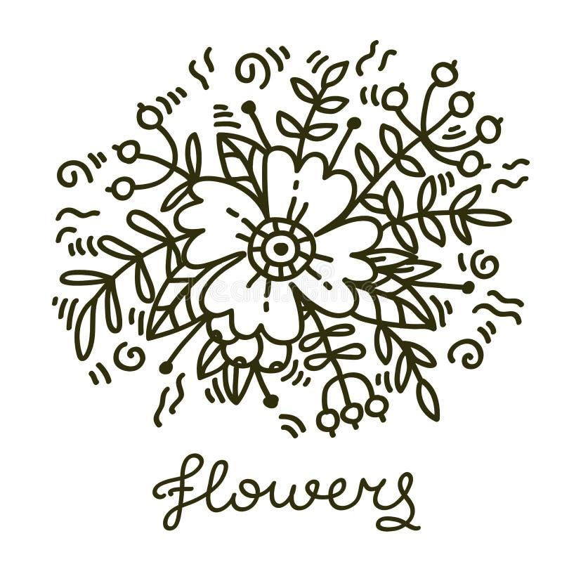 Ejemplo floral del vector del elemento de la flor decorativa botánica stock de ilustración