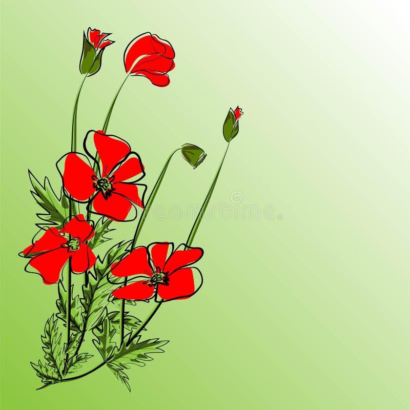 Ejemplo floral EPS 10 del vector del fondo de la amapola libre illustration