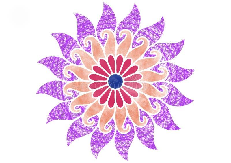 Ejemplo floral espiral colorido de diverso modelo de cepillos stock de ilustración