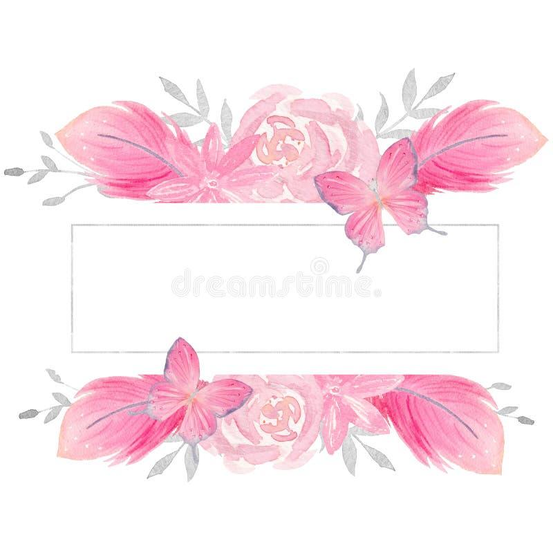 Ejemplo floral rosado de la acuarela frontera Pre-hecha del marco con las rosas, las mariposas, y las plumas stock de ilustración