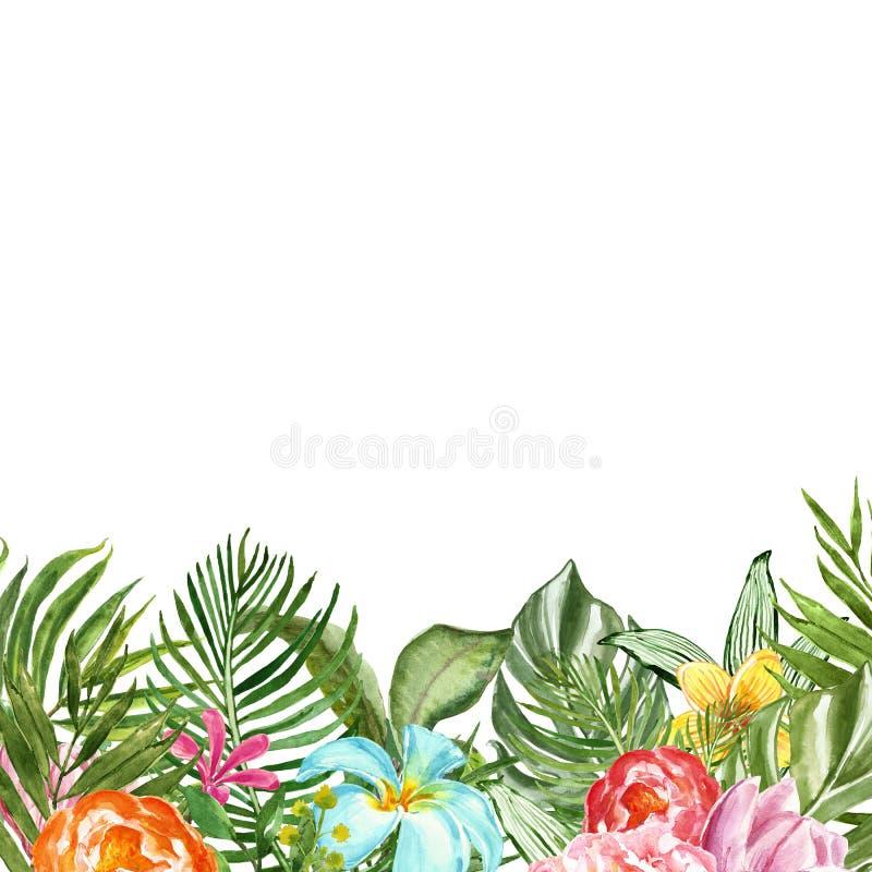 Ejemplo floral tropical de la acuarela con la hoja de palma, las flores y el follaje exótico verde Bandera del verano para el dis libre illustration