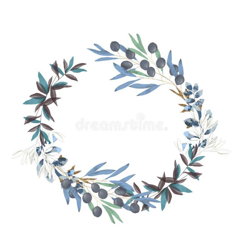 Ejemplo floral verde oliva - marco/guirnalda de la rama de olivo para casarse inmóvil, saludos, papeles pintados, moda stock de ilustración