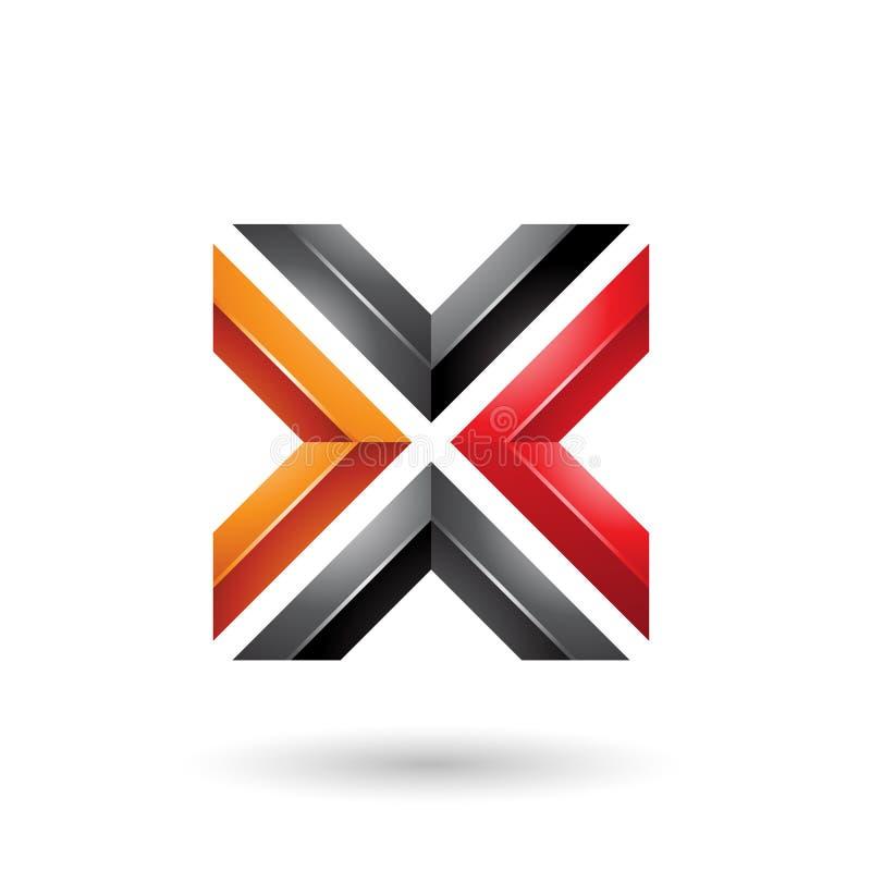 Ejemplo formado anaranjado del vector de la letra X de la casilla negra roja y ilustración del vector