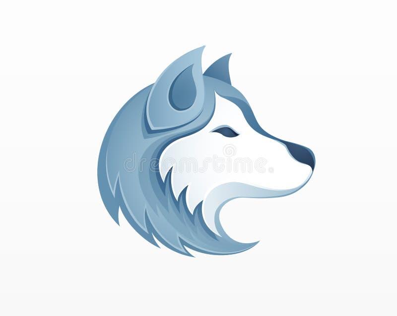 Ejemplo fornido del vector del logotipo de la cabeza de perro - invierno Siberia al aire libre stock de ilustración