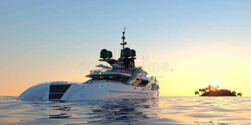Ejemplo fotorrealista de alta resolución extremadamente detallado y realista 3d de un yate estupendo de lujo stock de ilustración