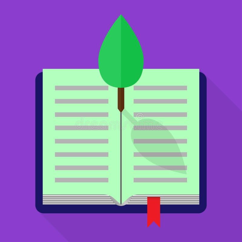 Ejemplo fresco de un libro abierto con un árbol Diseño plano ilustración del vector