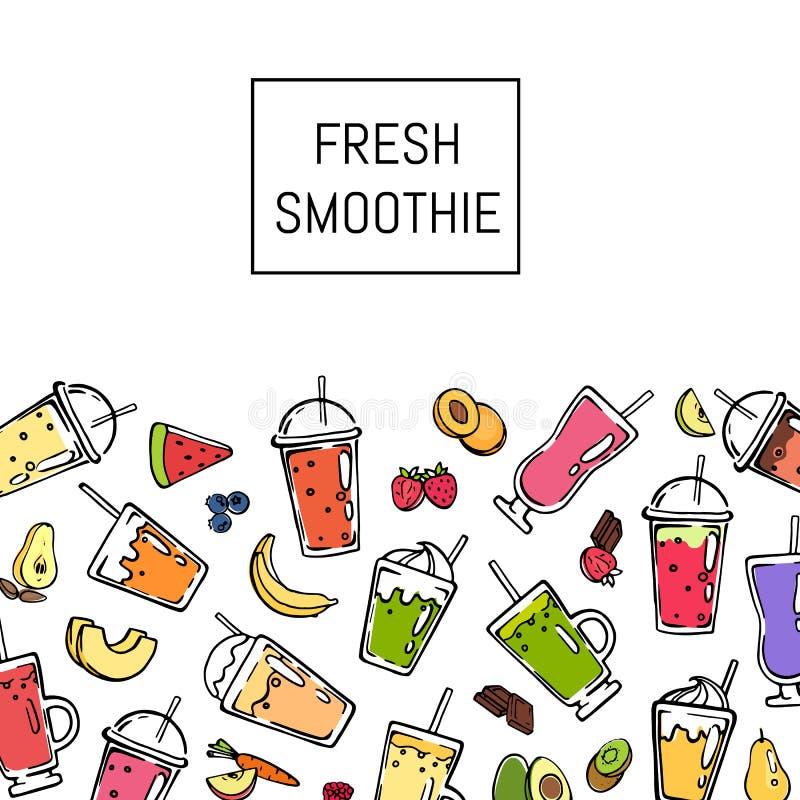 Ejemplo fresco del fondo de la bebida del smoothie del garabato del vector libre illustration
