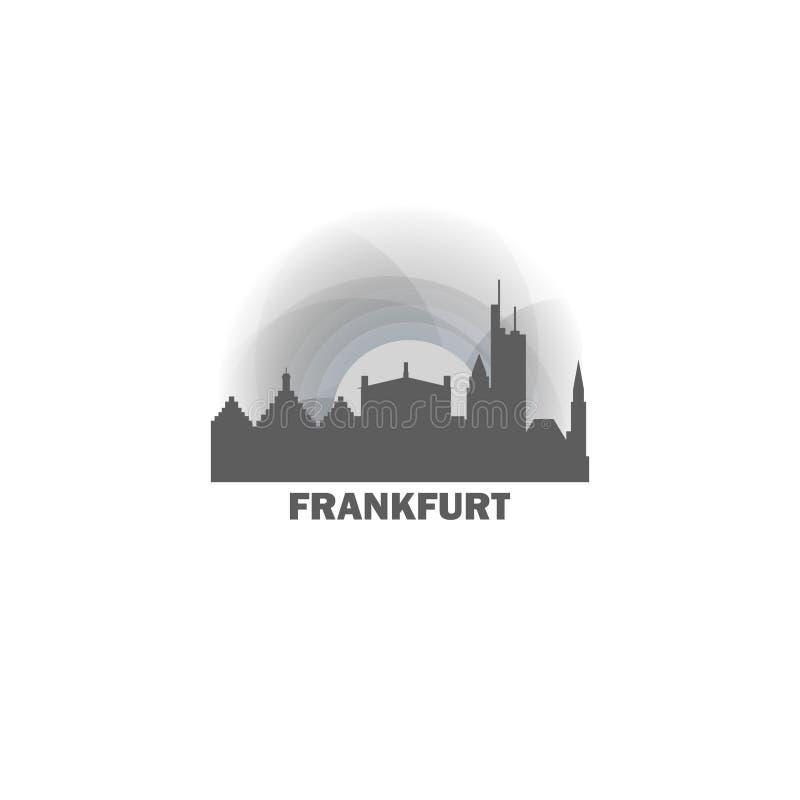 Ejemplo fresco del logotipo del horizonte de la ciudad de Francfort ilustración del vector
