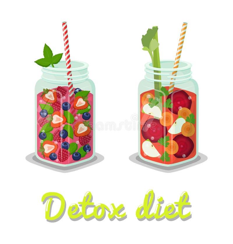 Ejemplo fresco del vector de las bebidas de la dieta del Detox stock de ilustración